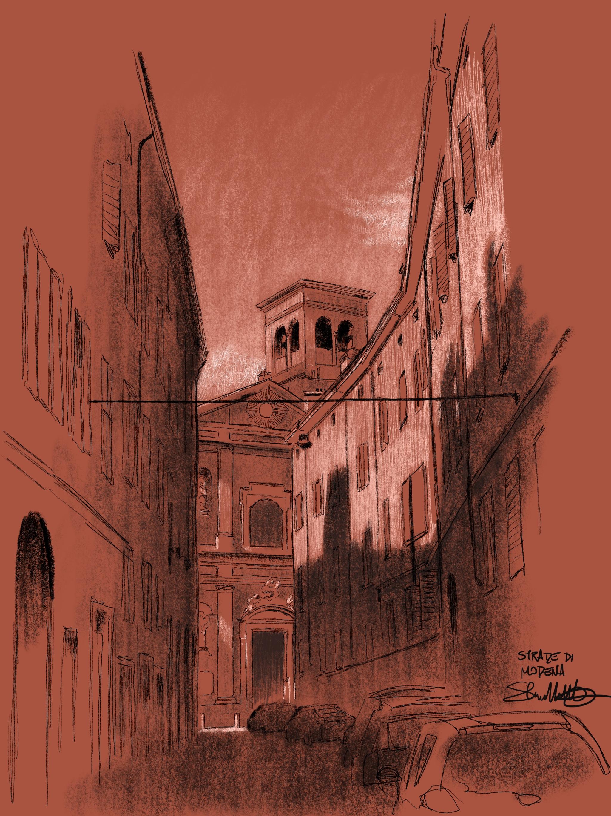 Disegno strade Modena Italia