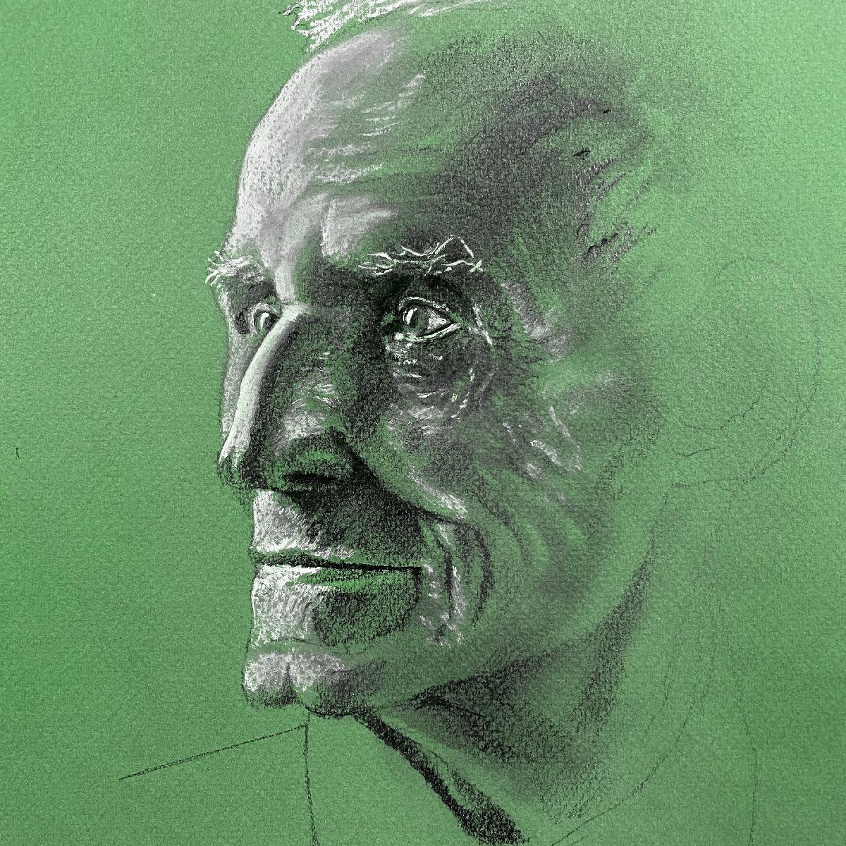 ritratto a matita carboncino stefano marvulli artista italiano